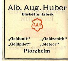 Alb. Aug. Huber Pforzheim UHRKETTENFABRIK Trademark 1908