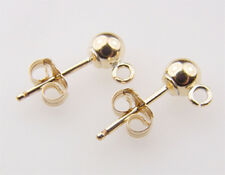 14k Gold Filled 4mm Ball Post Earrings /w Ring 6pairs  #6205-4