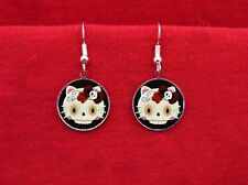 HELLO SUGAR SKULL KITTY ROSE EARRINGS DAY OF THE DEAD