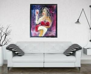 SEXY LADY with WINE  Painting by SWARTZMILLER - DNA SIGNED Pop Art Outsider COA
