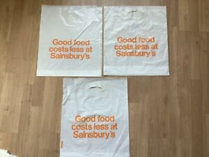 Vintage Retro plastic Carrier Bag x 3 Good Food Costs Less at Sainsbury's