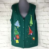 Ugly Christmas Sweater Vest XL 16 / 18 Trees Sequin No Boundaries Green