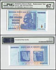 Zimbabwe 100 Trillion Dollars, 2008, P-91, UNC, Replacement/Star, PMG 67 EPQ