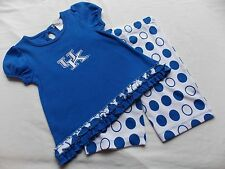 New NCAA KENTUCKY UK WILDCATS Girl Child 3 ISHTEX S/S TOP & CAPRI SET Polka Dots
