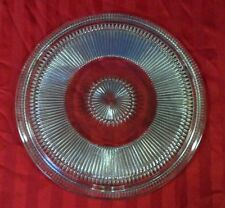VTG GLASS CAKE PLATE STARBURST PATTERN CLEAR HEAVY LARGE SERVING PLATTER TRAY