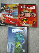 Cars, The Incredibles, Monsters Inc. (Lot of 3 Disney Pixar Dvds) - Family