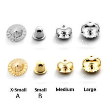 14k Solid White & Yellow Gold Screw Backs Earrings Replacement Findings 4 Size's