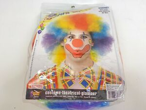 Clown Wig Rainbow Afro Circus Adult Costume  halloween Accessory theatrical