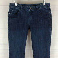 Lauren Conrad womens size 10 stretch blue dark wash mid rise slim crop jeans EUC