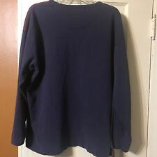 Used Vintage Gap Shirt Mens L Henley Crewneck Pullover Blue Burgundy Large