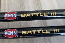 Lot of 2 Penn Battle Iii Fishing Spinning Rods 15-30 Lb & 20-50 Braid Brand New