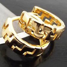Yellow G/F Gold Ladies Italian Design Earrings Huggie Hoop Genuine Real 18K