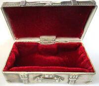 1991 GODINGER Silver Plate Red Velvet Suitcase Chest Jewelry Trinket Box