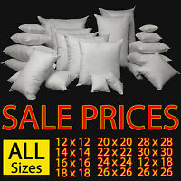 "CUSHION PADS, INNER, EXTRA, FILLERS 12"" 14"" 16"" 18"" 20"" 22"" HOLLOWFIBRE FILLING"