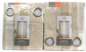 "2 Count JC Penney Home Leno Stripe 50"" X 84"" Porcelain Sand Grommet Panel"