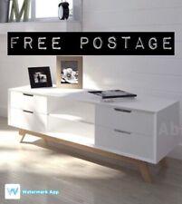 White Scandinavian TV Stand High Gloss Sideboard Cabinet Media Storage DVD Unit