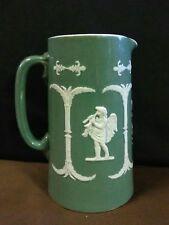 (Rare) Antique Wardle England Pottery Jasperware Green Grecian Cameo Pitcher
