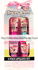 4pc ANGRY BIRDS Glitter Lip Gloss Set+ Matching Box STRAWBERRY+COTTON CANDY++
