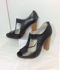 Zara Trafaluc Women's 39/8 Black Leather Cut-Out Pumps Booties Heels T-Strap
