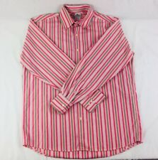 LACOSTE Long Sleeve Button Up Blue Size Large 42 Dress Shirt Pink Striped #362