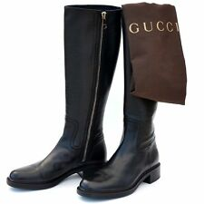 GUCCI New sz 38.5 - 8.5 Auth Designer Riding Womens Zip Logo Shoes Boots black
