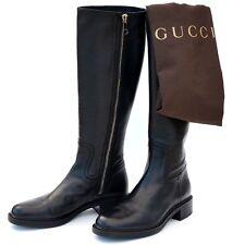 GUCCI New sz 38.5 8.5 Designer Riding Horsebit Womens Zip Logo Shoes Boots Black