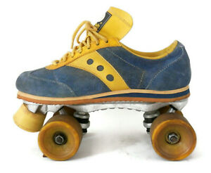 Vintage Mens Sneaker Roller Skates by Spot-bilt Blue Suede & Yellow sz 8