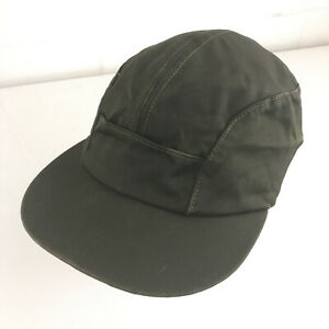 Vintage 5 Panel hat Olive with Leather band size 7 1/8 Union Label GUC hbx37
