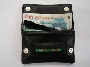 Leather Tobacco Pouch Organizer with Space for Money with Magnetic Button Black