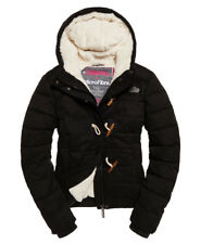 Womens Superdry Microfibre Toggle Puffer Coat Jacket Black L