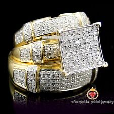 Diamond Wedding Yellow Gold Finish Trio His Her Bridal Band Engagement Ring Set