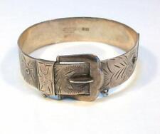 Old Victorian Signed EXCALIBOR England STERLING FLORAL ENGRAVED BUCKLE Bracelet