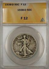 1938-D Walking Liberty Half Dollar Coin 50C ANACS F 12 B