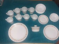 Corelle Butterfly Gold Dishes with #1410 Mugs Pyrex Lidded Marg. Dish #75