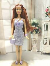 BARBIE DOLL REDHEAD FASHION FEVER WEARING CUTE PURPLE CLOTHES