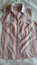 Women's L 12-14 White Stag Pink Pastel Striped Top Sleeveless Button Front Blue