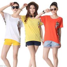 Camisas y tops de mujer de manga corta camiseta corta 100% algodón