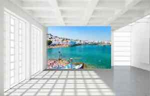 Stunning Mykonos Greek Island Harbour Sea Views Canvas Print Large 100 X 75cm