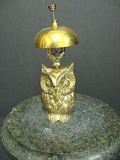 Heavy Vintage Hotel Motel Front Desk Solid Brass Owl Bellhop Service Clerks Bell