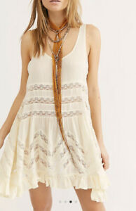Free People Voile and Lace Trapeze Slip Ivory size S