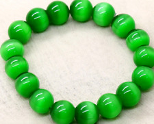 Natural 10mm Green Cat' Eye Stone Round Gemstone Beads Stretchy Bracelet 7.5''AA