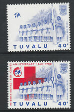 Tuvalu (S45) 1988 Red Cross 40c RED OMITTED & normal unmounted mint SG 519var