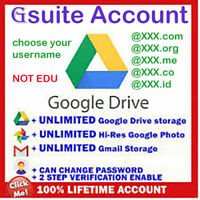 gsuite lifetime UNLIMITED google drive / GDrive ✅ Custom USER NAME ✅ not .edu ✅
