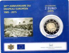 NEW !!! COIN CARD 2 EURO COMMEMORATIVO LUSSEMBURGO 2015 30° Bandiera Europea