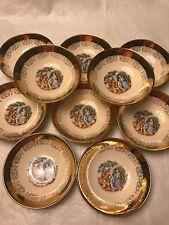 10 Vintage Sabin Crest-O-Gold Dessert Bowls 22Kt Gold Made In USA