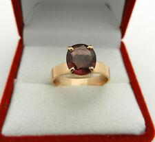 Solid 18k Rose pink Gold Oval Rhodolite Garnet Solitaire Ring size 6.25