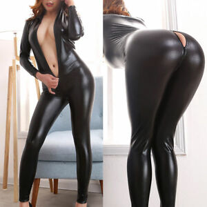 AU Clubwear Patent Leather Bodysuit  Gloves Sexy Women Latex Catsuit Fetish XL