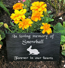 Personalised Engraved Slate Pet Memorial Grave Marker Plaque for a Rabbit Bunny