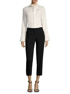 $250 BOSS BERENA TIE NECK BELL SLEEVE CREPE BLOUSE IN IVORY SIZE 10