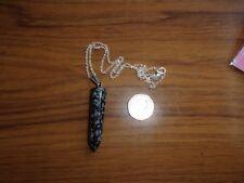 Copo de Nieve Negro Obsidiana Cuarzo Ágata-CRYSTAL-NUEVO Colgante Plata Cadena de 925